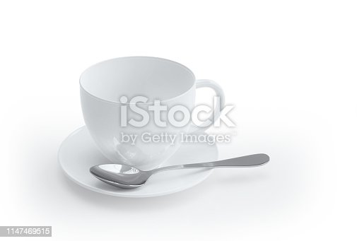 Coffee cup on white table. Isolated with clipping path. 3d rende