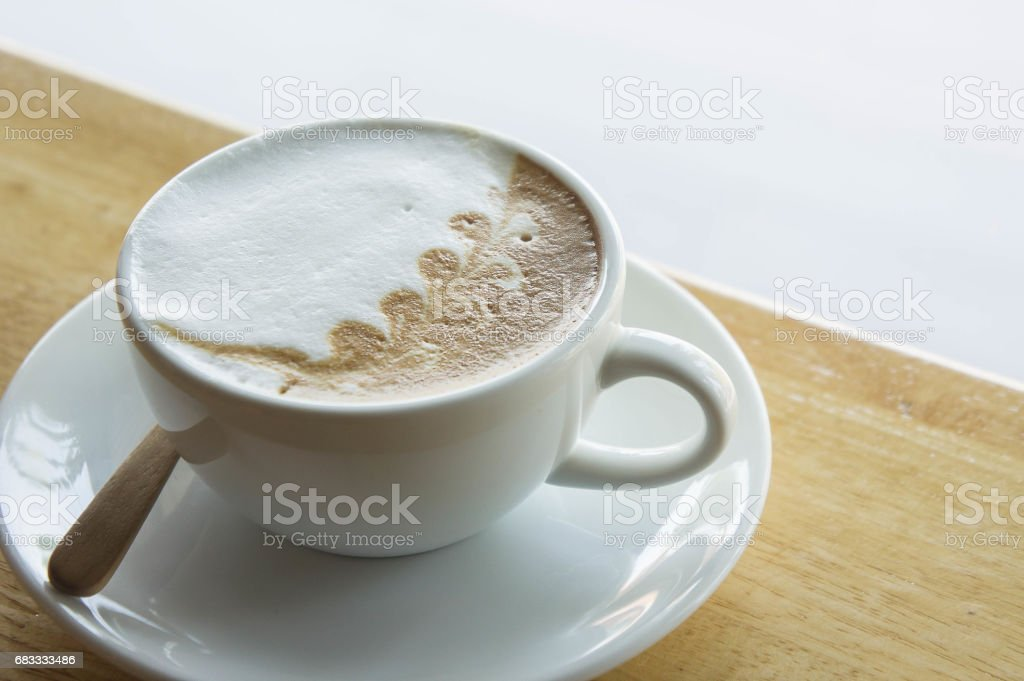 coffee cup on wood table in cafe coffee shop royalty-free stock photo