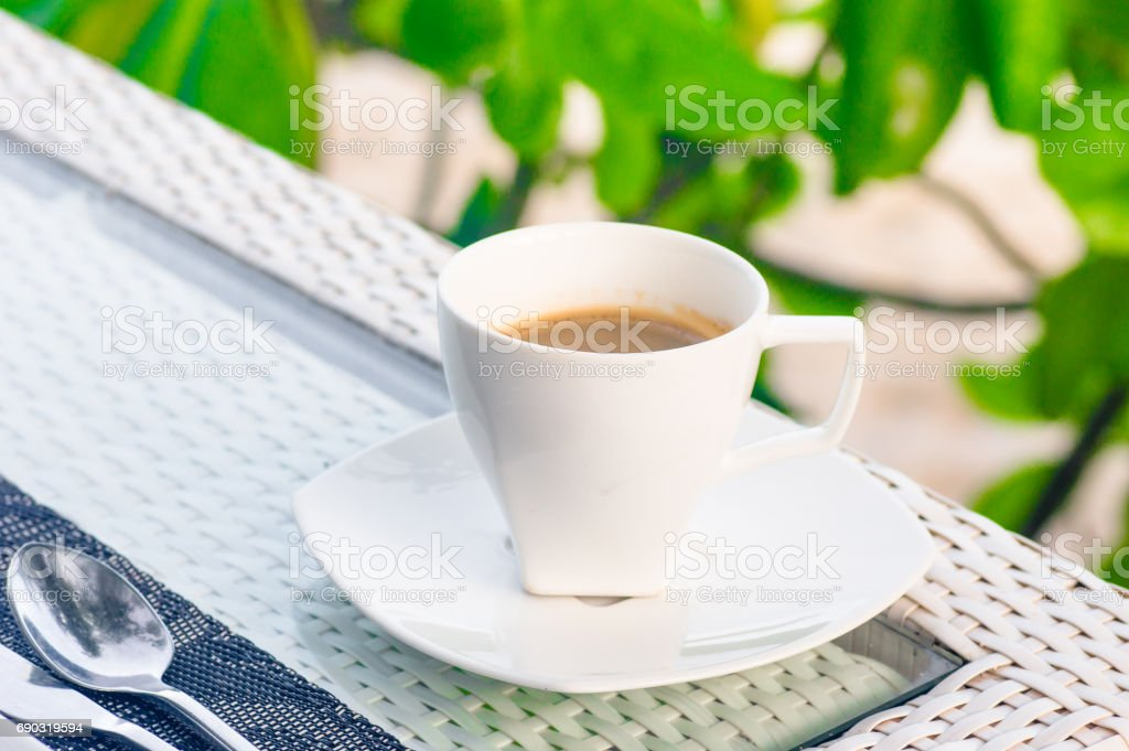 Coffee cup on wood table stock photo