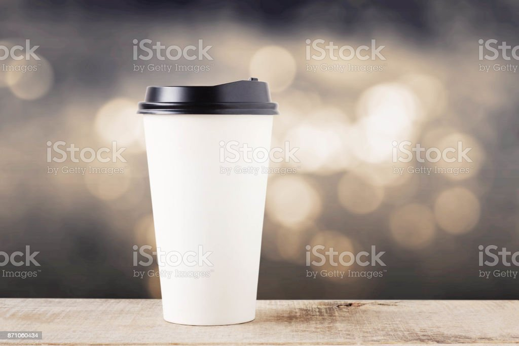 Coffee cup on wooden. stock photo