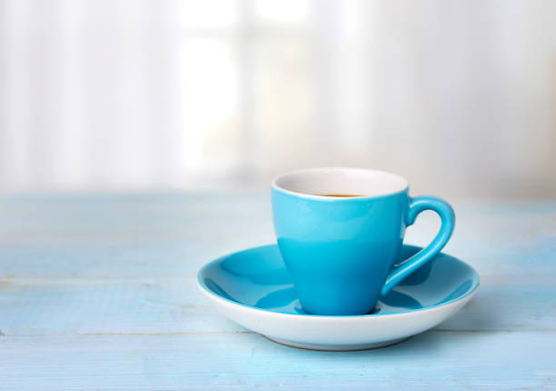 Coffee cup on wooden table empty space background. stock photo