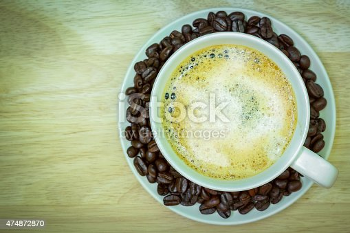 519529874 istock photo Coffee cup on wooden table. View from the top 474872870