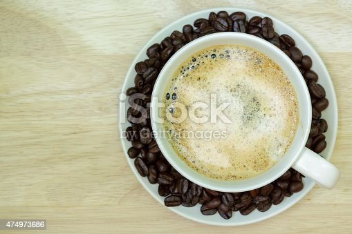 519529874 istock photo Coffee cup on wooden table. View from the top 474973686