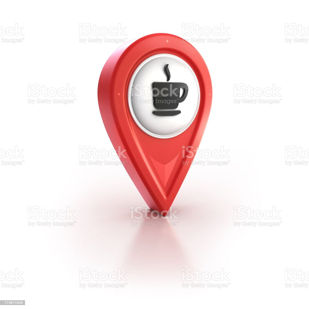 coffee cup or house location pin stock photo