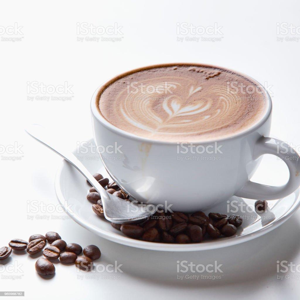 Kaffeetass'auf weißem Hintergrund - Lizenzfrei Ansicht von oben Stock-Foto