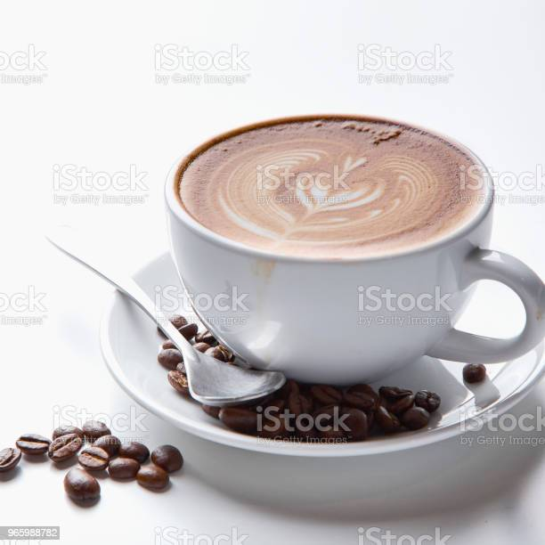 Kaffeetassauf Weißem Hintergrund Stockfoto und mehr Bilder von Ansicht von oben