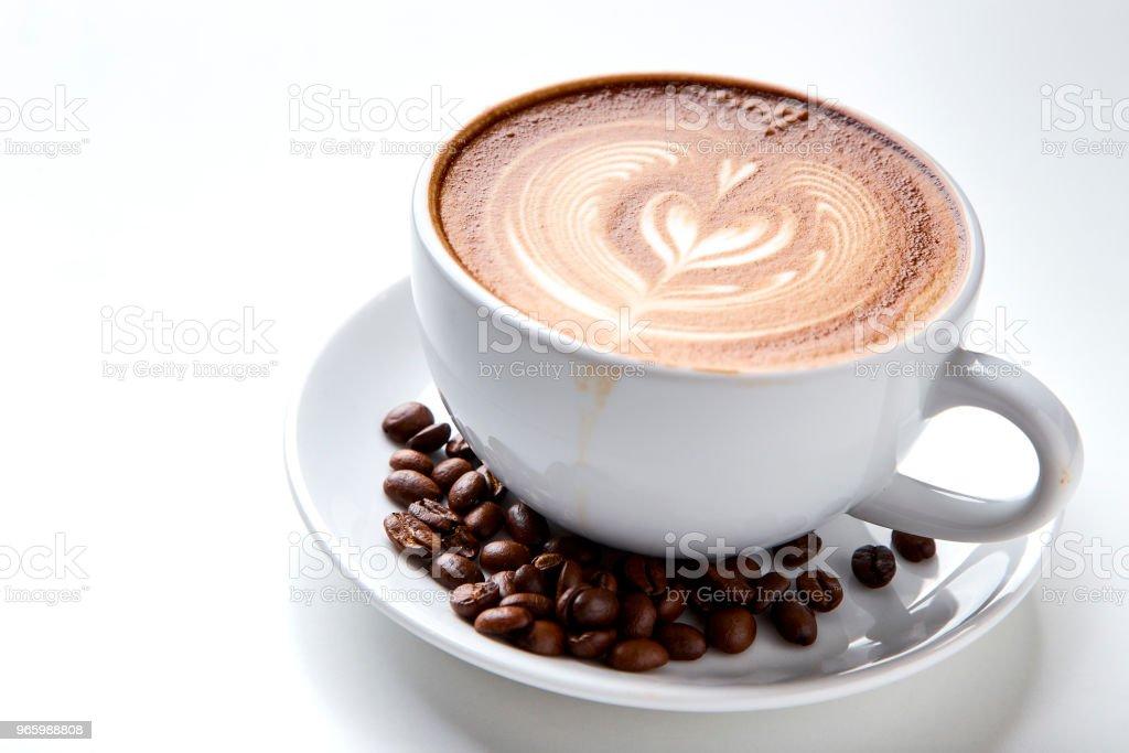 koffiekopje op witte achtergrond - Royalty-free Boven Stockfoto