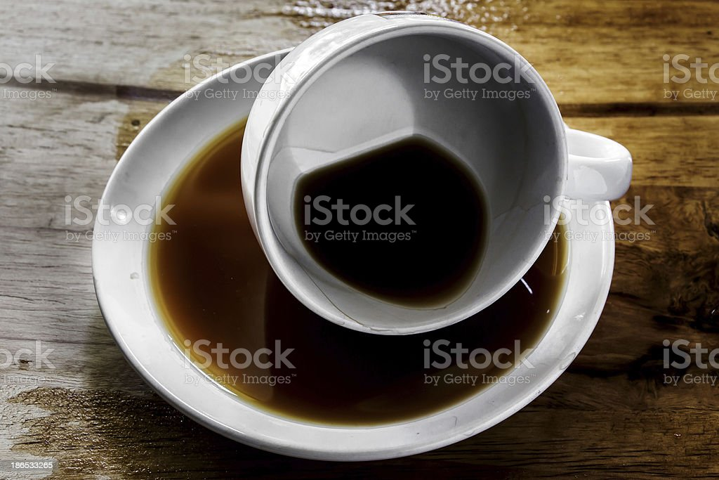 Coffee cup over wood table background. royalty-free stock photo