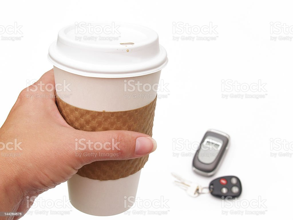 coffee cup, phone and keys royalty-free stock photo
