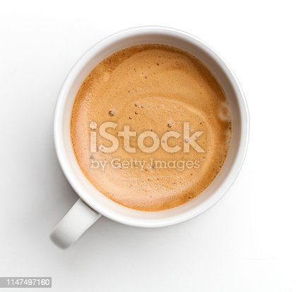 Top view of coffe cup on white background