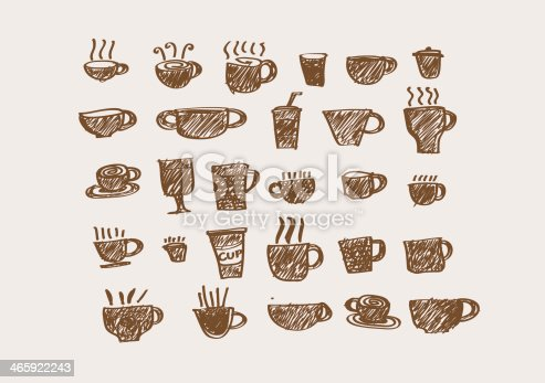 istock Coffee cup set or Tea cups icon collection design 465922243