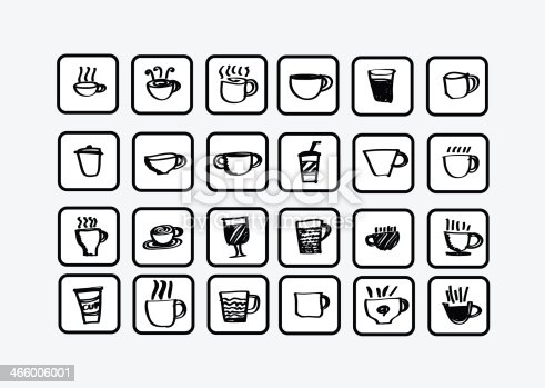 istock Coffee cup set or Tea cups icon collection design 466006001