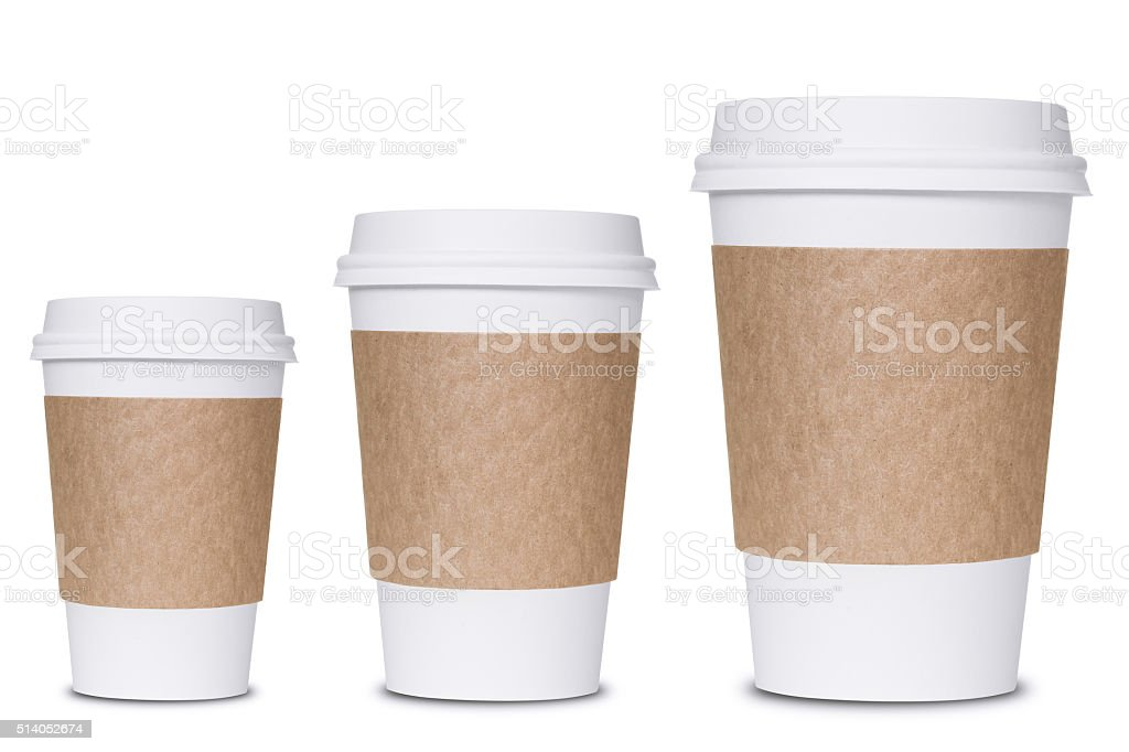 Coffee cup sizes stock photo