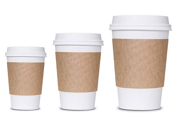Coffee cup sizes Photograph of three coffee cup sizes isolated on white background. disposable cup stock pictures, royalty-free photos & images