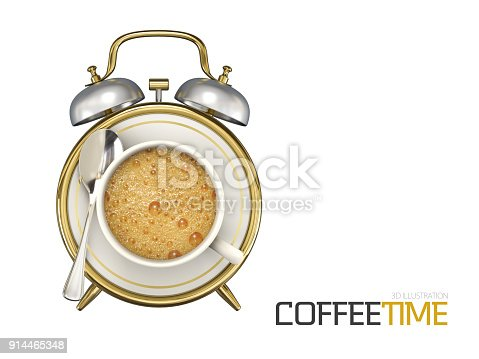 istock Coffee cup time clock concept design background, 3d Illustration 914465348
