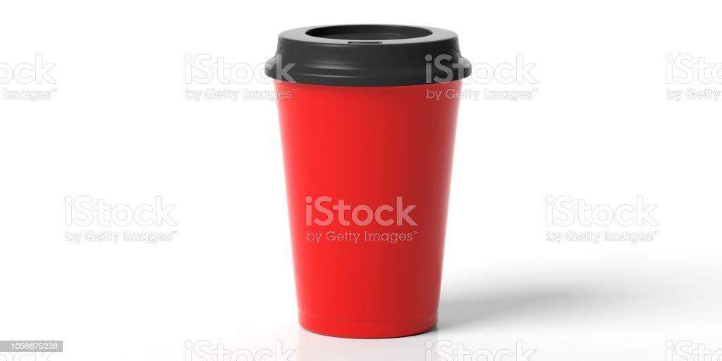 Kaffeetasse, rot mit einem schwarzen Deckel isoliert auf einem weißen Hintergrund, 3d Illustration zu gehen. – Foto