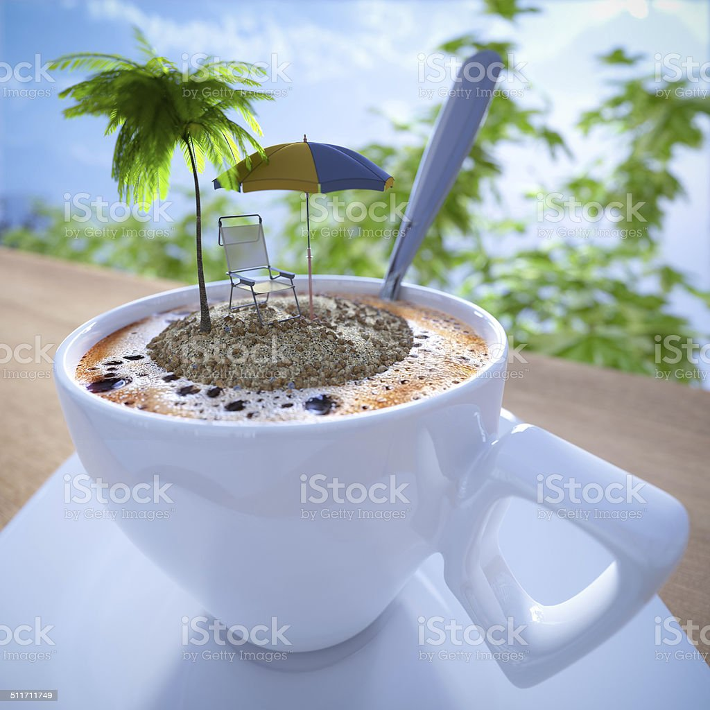 Coffee cup vacation relaxing concept composition stock photo