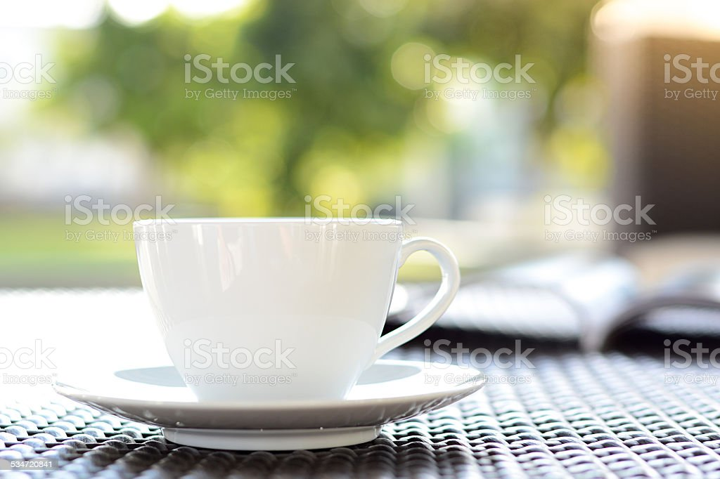 Coffee cup with book on blurred green nature background stock photo