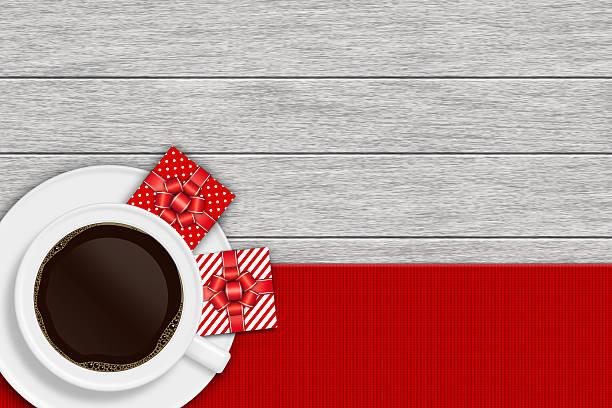 coffee cup with christmas presents lying on wooden desk - sale stok fotoğraflar ve resimler