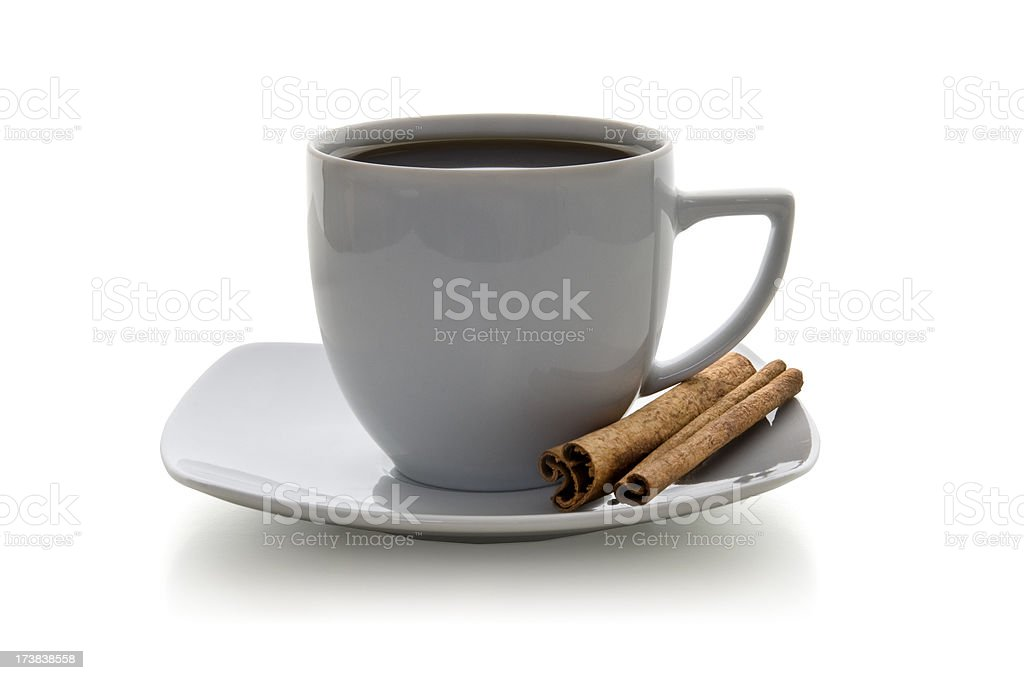 Coffee cup with cinnamon royalty-free stock photo