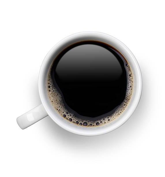 Coffee cup with clipping path Black Coffee in a white cup  with bubbles.clipping Path black coffee stock pictures, royalty-free photos & images