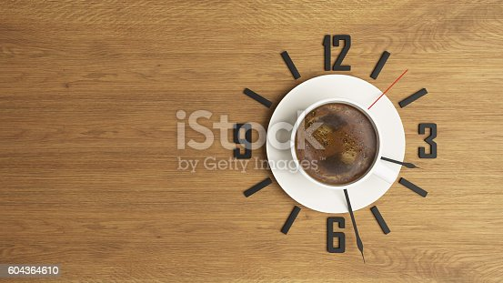 istock coffee cup with clock concept design background 604364610