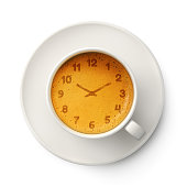 Coffee cup with clock cream foam isolated on white background. 3d illustration