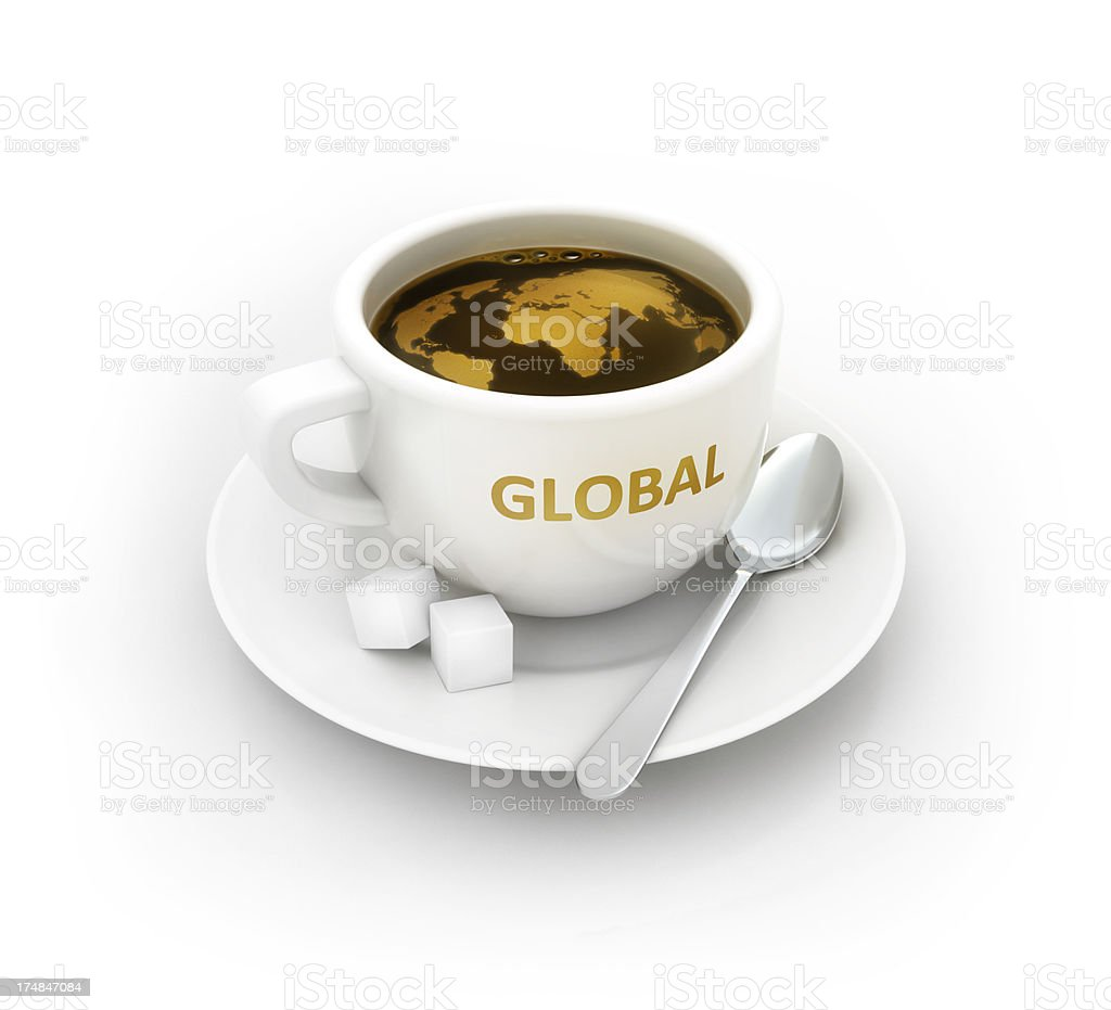 coffee cup with global world map royalty-free stock photo