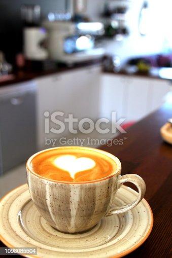 fresh coffee and modern coffee mashine