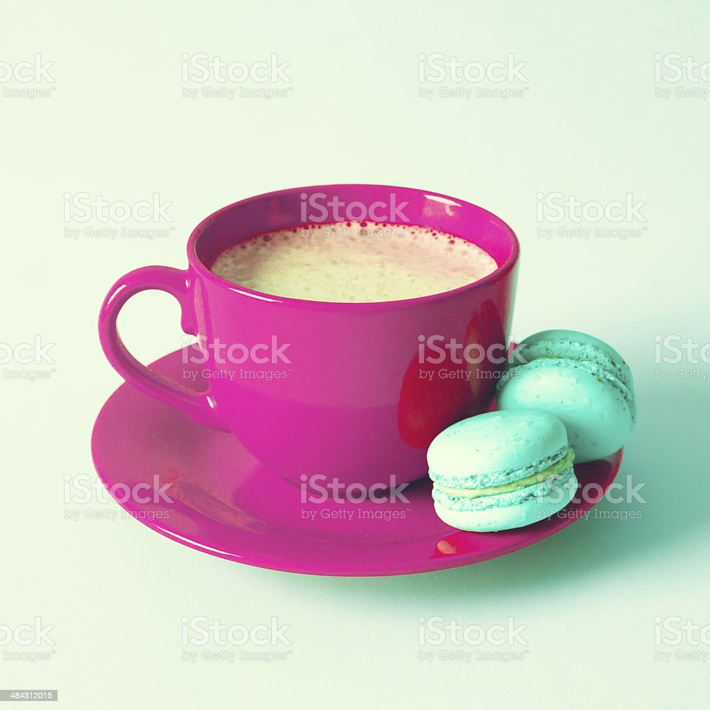 Coffee Cup with macaroons stock photo