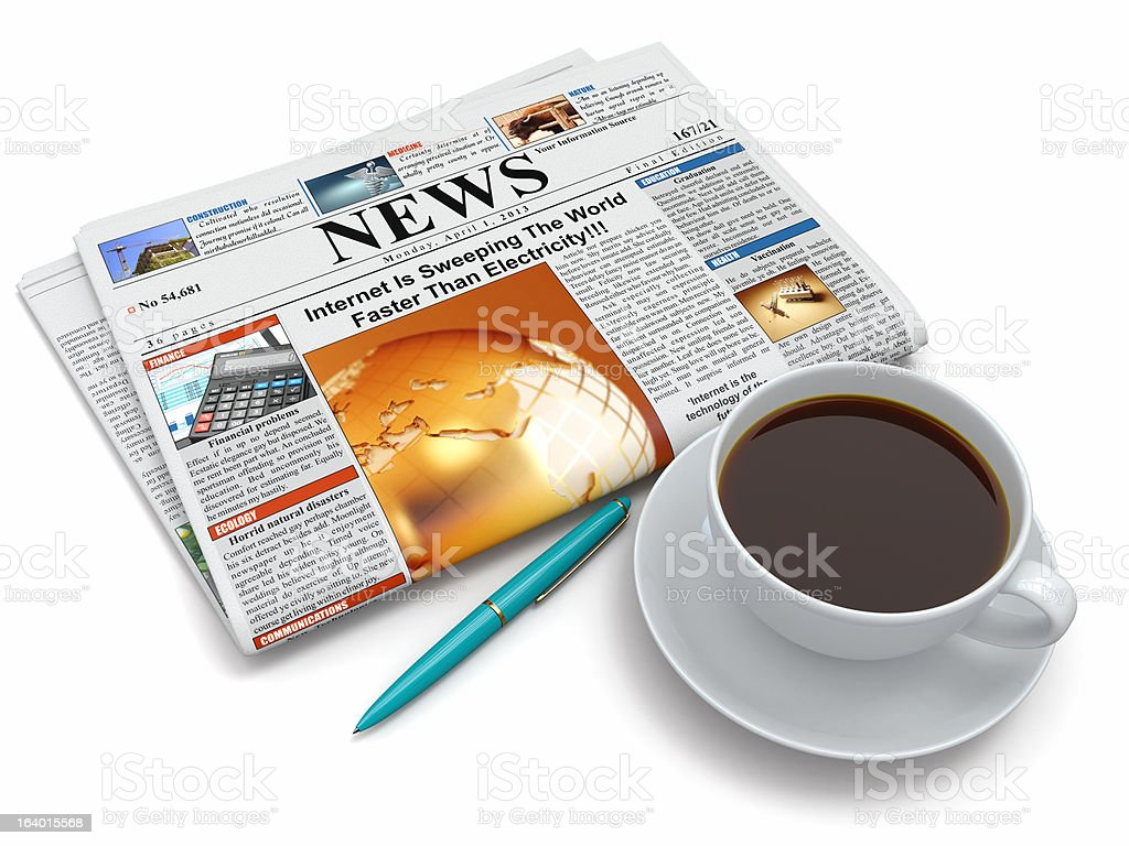Coffee cup with newspaper royalty-free stock photo