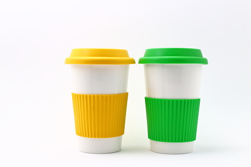 Coffee cup with colorful silicone holder