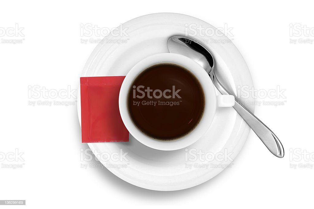 Coffee Cup with Spoon, red sugar bag isolated on white royalty-free stock photo