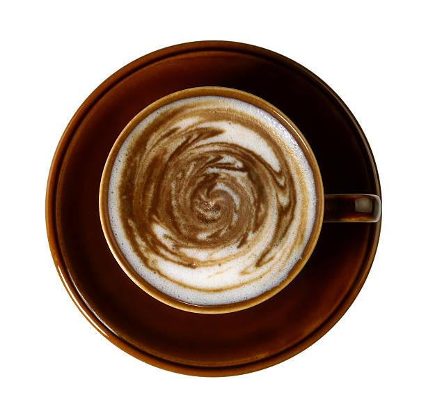コーヒーカップ、風変わりな squirly ミルクフロス ストックフォト
