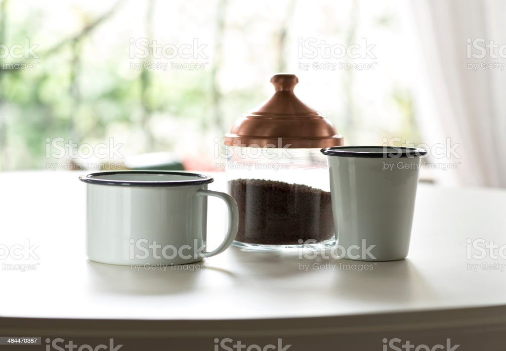 Coffee cups and jar royalty-free stock photo