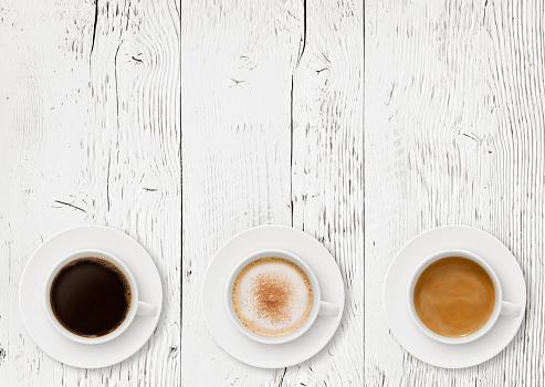 Coffee Cups Border on Wood