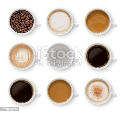 Collection of nine cups with different coffee types isolated on white (excluding the shadow)