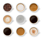 Collection of nine cups with different coffee types isolated on white - clipping path included (excluding the shadow)