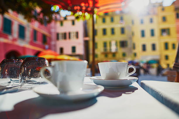Coffee cups in cafe in Vernazza, Cinque Terre, Italy stock photo