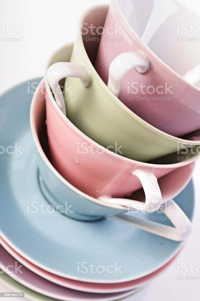coffee cups in stack stock photo