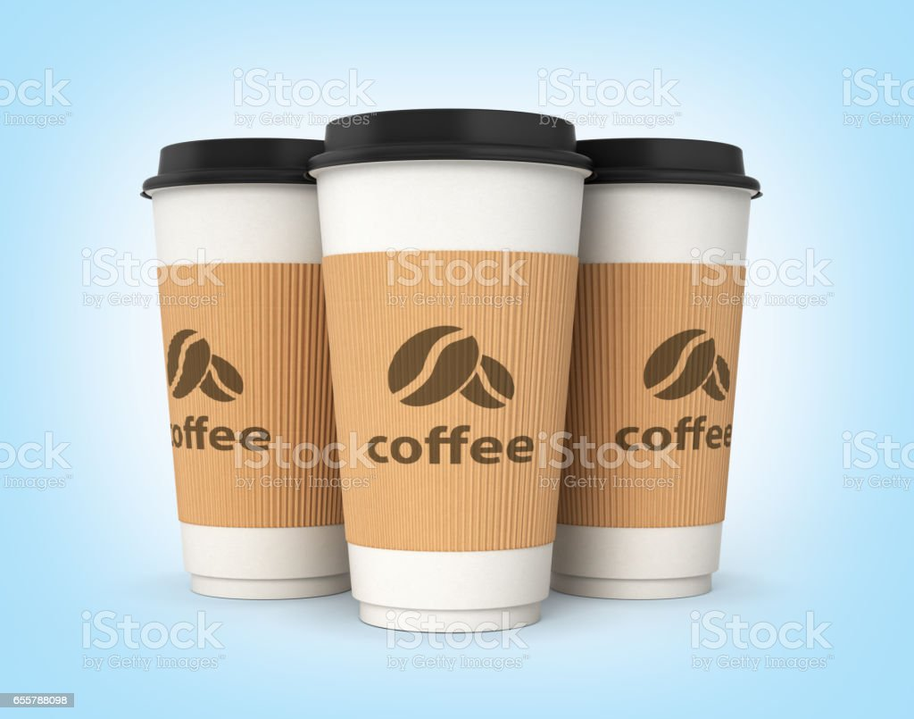 Coffee cups on blue gradient background 3d stock photo