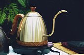 Coffee drip kettle for Hand drip coffee close up