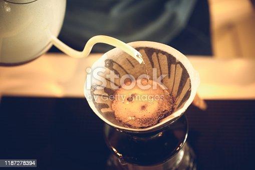 istock coffee drip process, vintage filter image 1187278394
