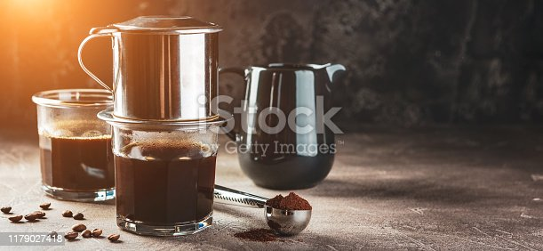 istock Coffee dripping in vietnamese style 1179027418