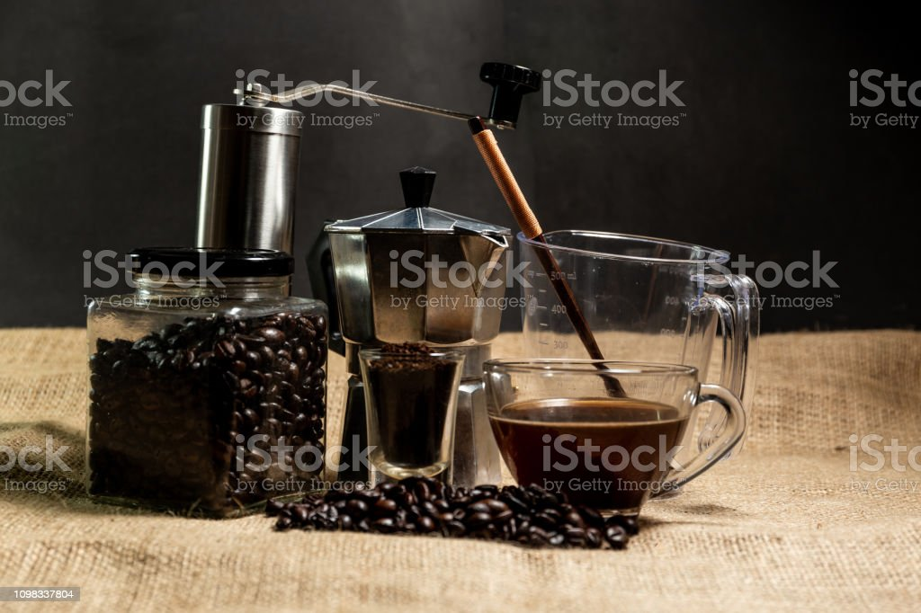 Coffee equipment Grinder, Pot and coffee bean