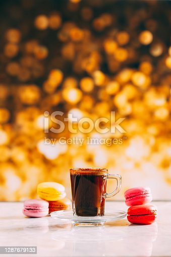 Delicious Turkish Coffee and Colorful Macarons
