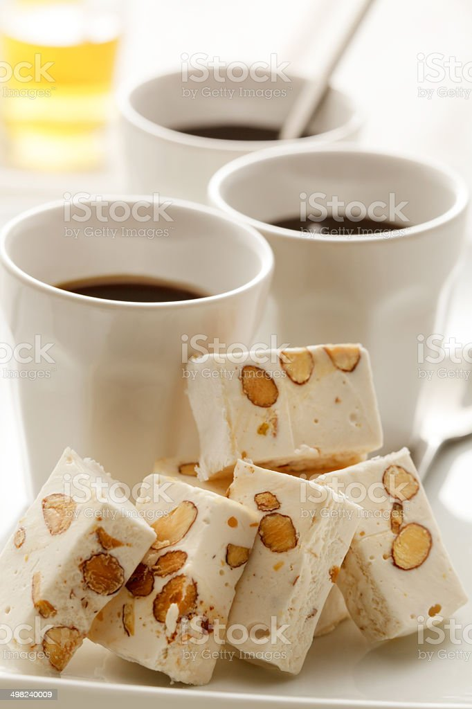 Coffee: Espresso, Liqueur and Nougats royalty-free stock photo