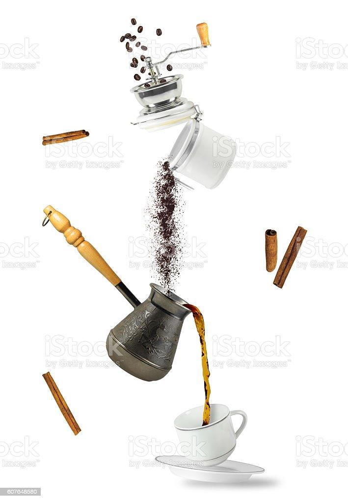 Coffee falling stock photo