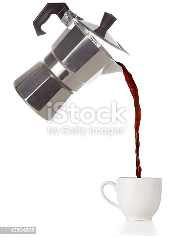 istock coffee flowing out of a flying moka 1143504878