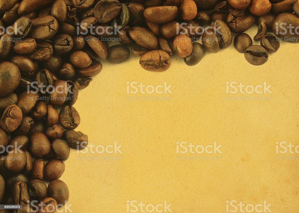coffee frame on yellowed paper royalty-free stock photo